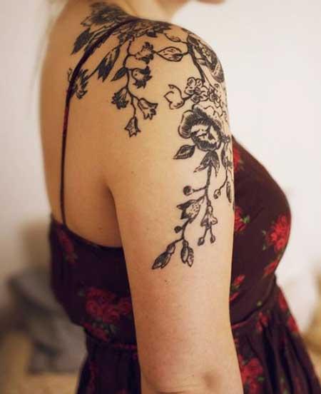Black Tattoos Flower Shoulder Black 2017 - 8