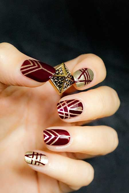 Nail Design, Nail Art 2017, Nail Idea, Tribal Nail, Art, Aztec Nail, Gold Nail, Fall