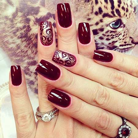 Nail Design, Nail Art 2017, Burgundy Nail, Naildesign, Black Nail, Art, Red, Nailart