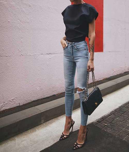 Women High Waist Jeans Outfits
