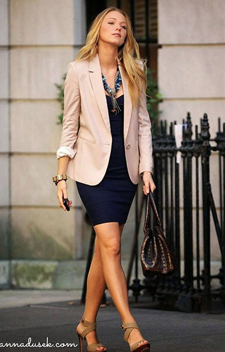 Casual Dress Outfit Idea, Fashion Outfits Blazer Style