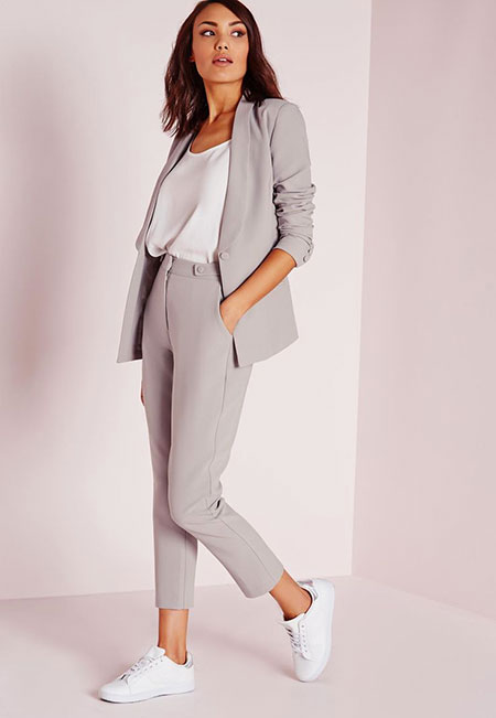 Smart Casual Outfit Idea, Grey Women Šaty Wardrobe