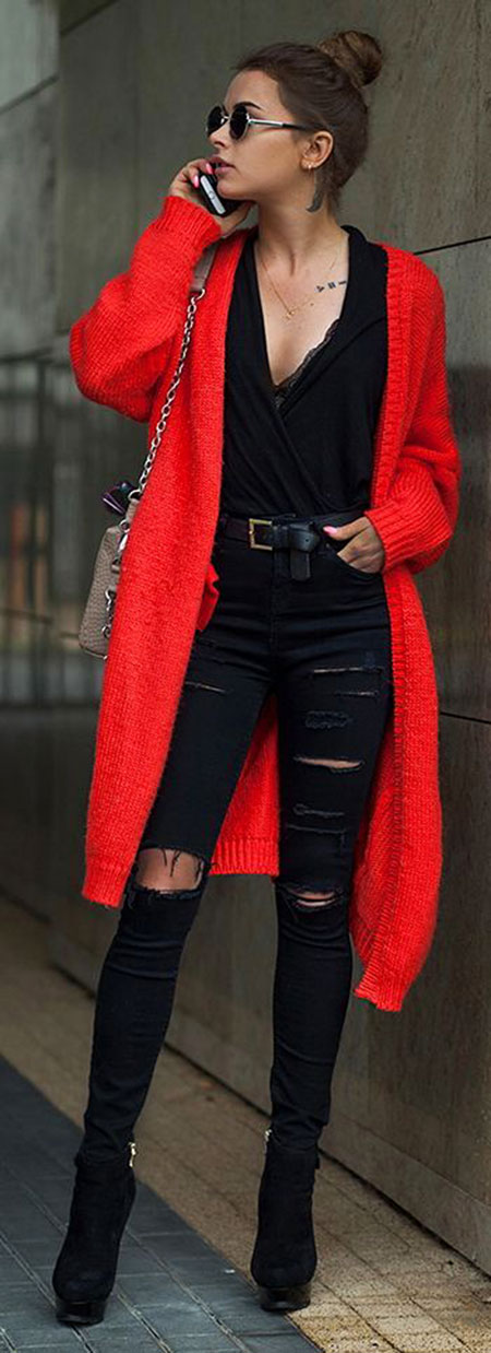 Red and Black Outfit Idea, Fashion Red Style Fall