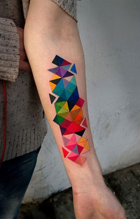 Geometric Tattoo Colorful Origami