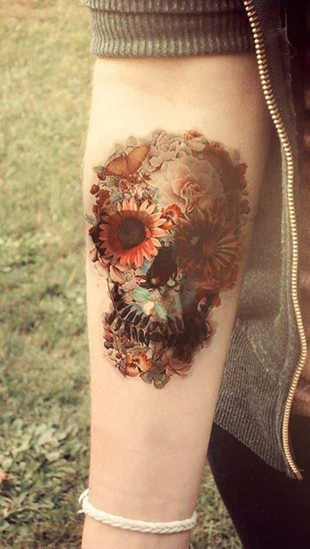 Tattoos Skull Flower Tattoo