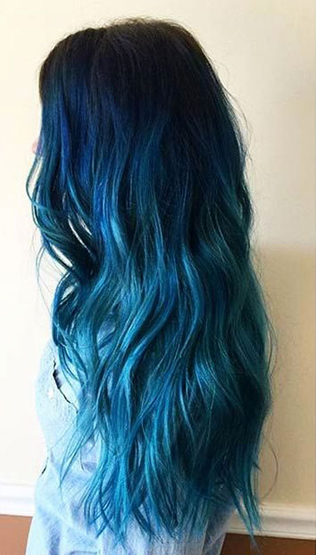 Hair Blue Color Ombre