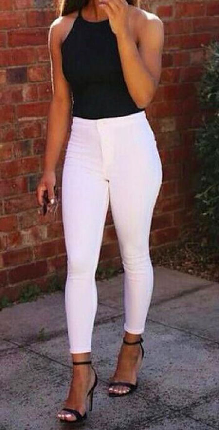 Jeans White Black Skinny
