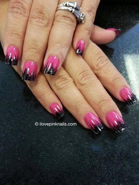 Nail Pink Black Art