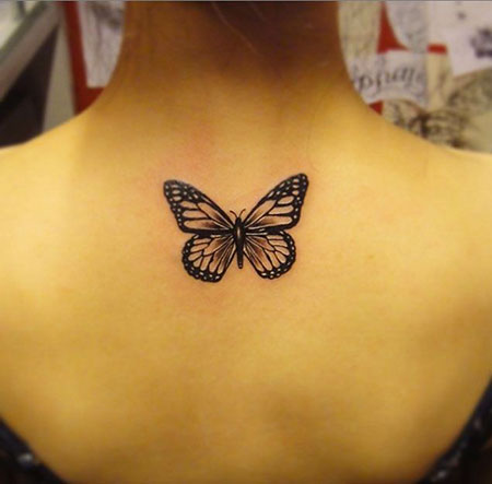Butterfly Tattoo Women Black