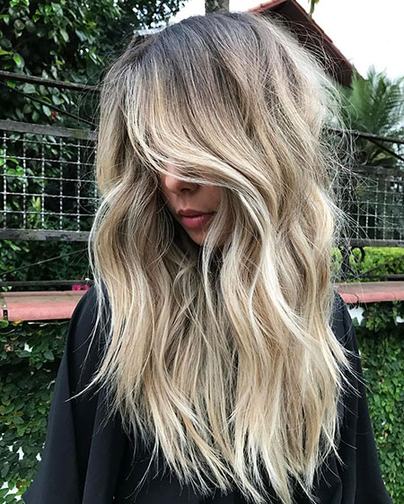 Blonde Balayage Dark Wavy