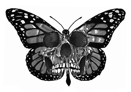 Butterfly Skull Art White
