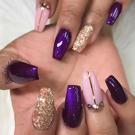 Nails Purple Gold Nail