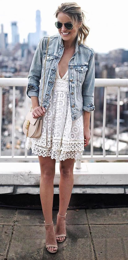 White Jacket Denim Style
