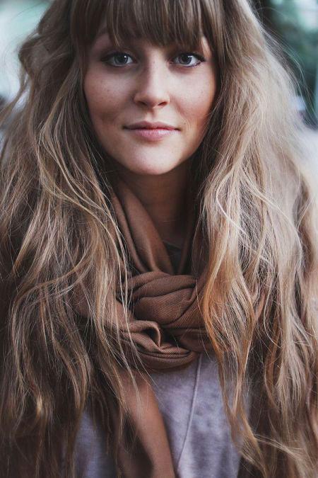 Hair Bangs Long Wavy