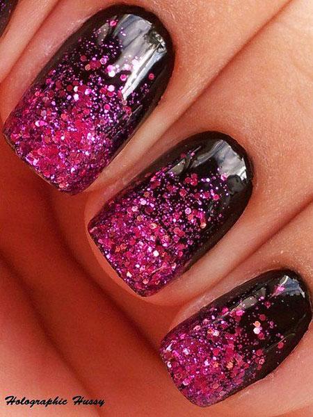 Pink Glitter Nail Black