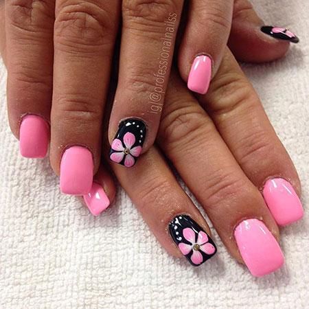 Nail Nails Pink Flowers