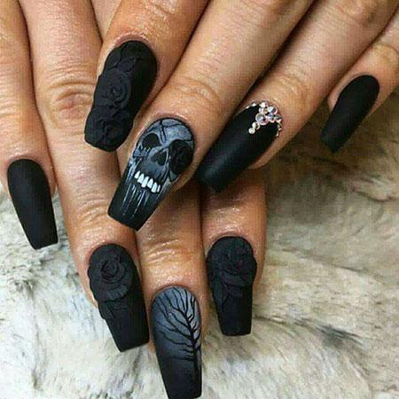 Nail Nails Skull Black