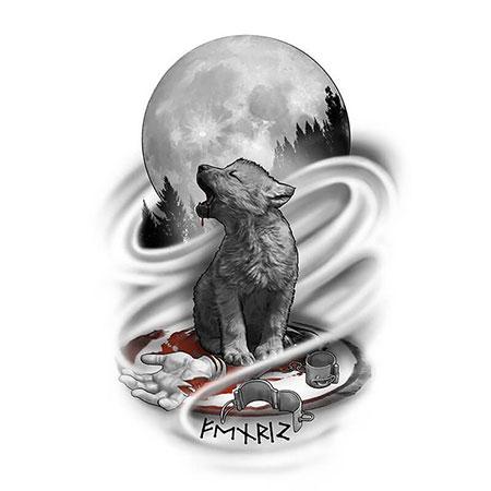 Cub Wolf Moon Bronze