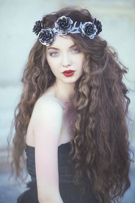 Hair Curly Flowers Fantasy