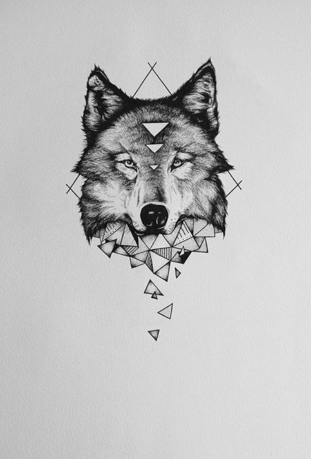 Wolf Tattoo Geometric Deer