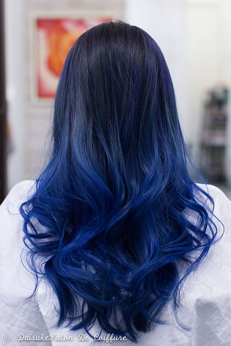 Hair Blue Ombre Color