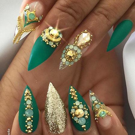 Nails Nail Gold Rhinestones
