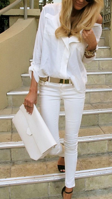 White Jeans Fashion Outfits