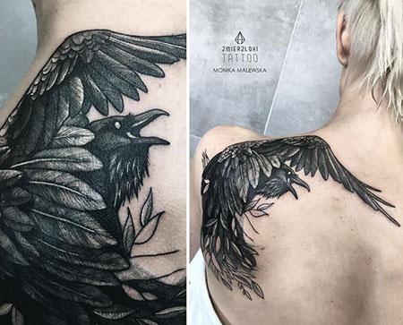Tattoo Crow Black Shoulder