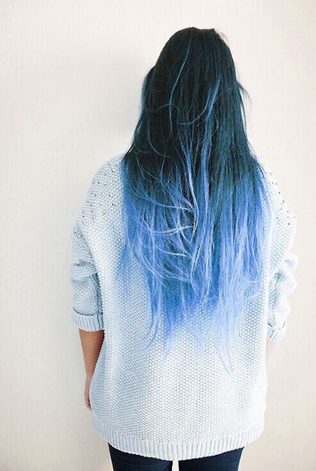 Hair Ombre Blue Color