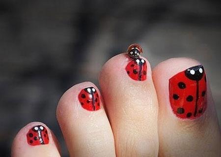 Ladybug Nail Toe Toes