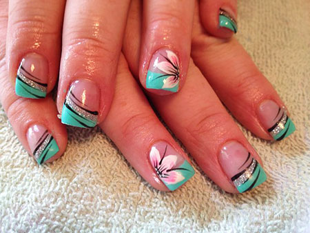 Nail Art Flowers French