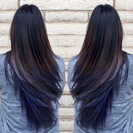 Hair Blue Color Balayage