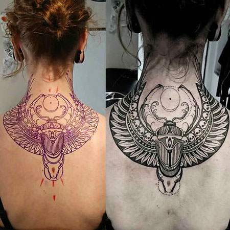 Tattoo Egyptian Owl Neck