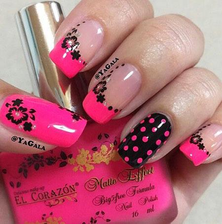 Nail Nails Pink Black