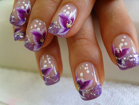 Nail Purple Nails Flowers
