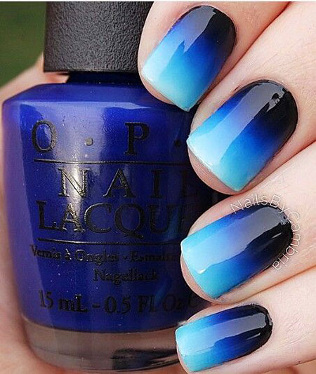 Ombre Black and Blue Nail Design, Blue Polish Nail Black