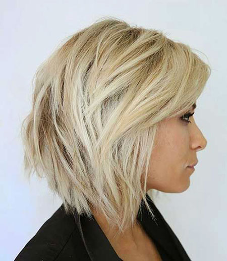 Chin Length Haircut, Blonde Hair Choppy Tousled