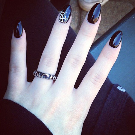 Cool Black Nail , Nails Nail Halloween Photo