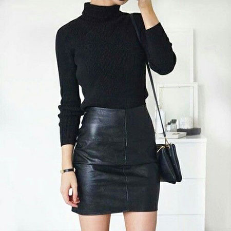 Leather Skirt and Polo Neck, Black Up All Fashion