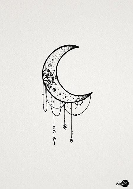 Moon Tattoo, Moon Tattoo New Small