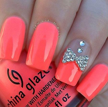 Pink Nails with Bow, Nail Bow Pink Nails