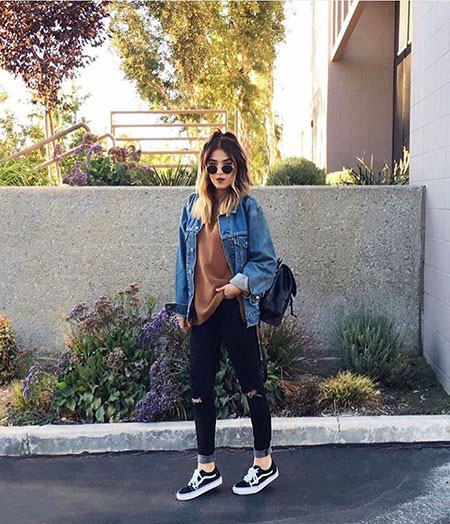 Street Outfit with Black Vans, Fashion Black Outfits Style