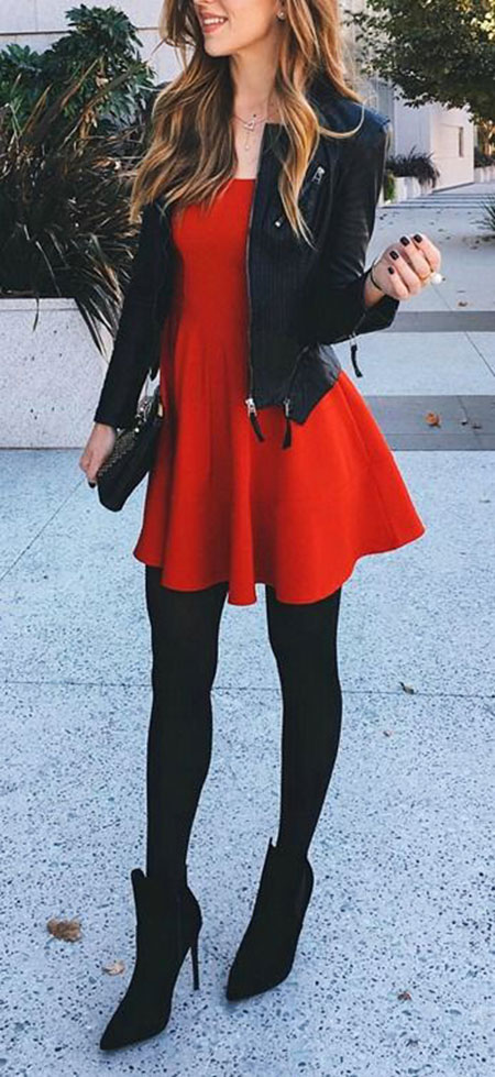 Red Dress with Black Stockings, Red Style Fun Home