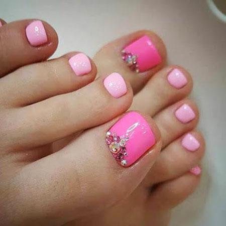 Cute Pink Toe Nail Design, Nail Toe Pink Designs