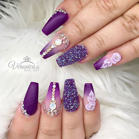 Purple Acrylic Nails, Nails Nail Designs Art