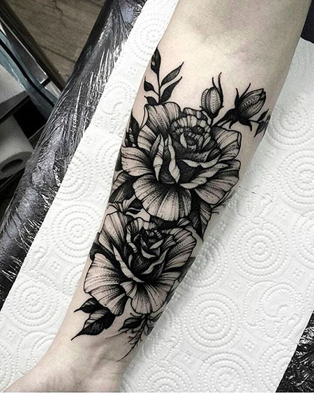 Rose and Leaf Tattoo, Tattoo Tattoos Forearm Floral