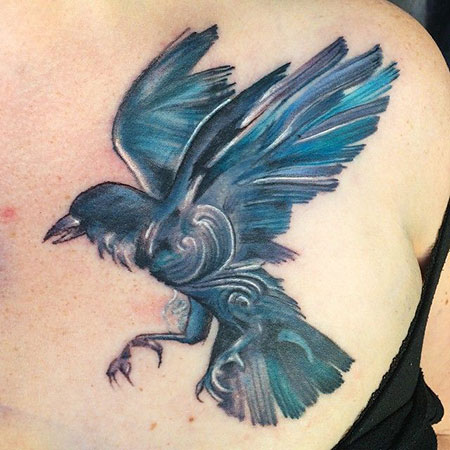Crow Tattoo Design, Tattoo Watercolor Crow Rosary