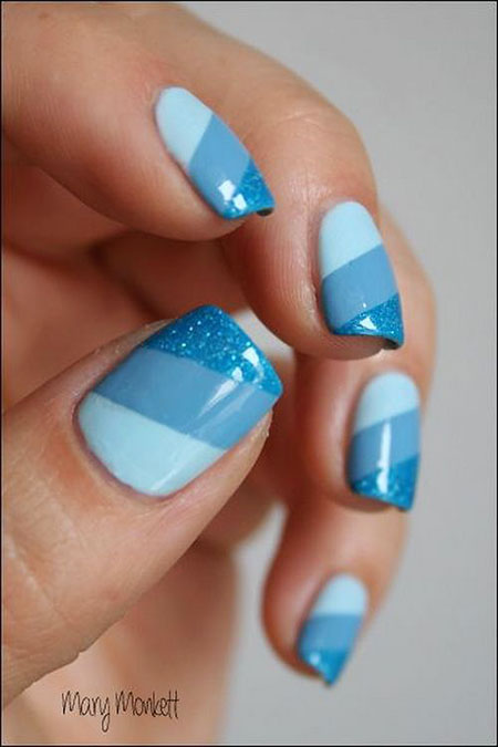Blue Nail Nails Short