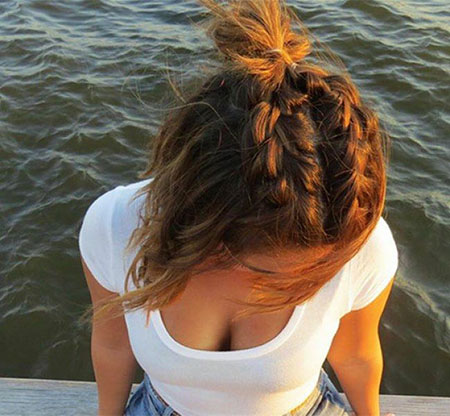 Hair Bun Half Braids