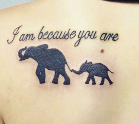 Son Elephant Tattoo Silhouette
